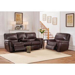 World Menagerie Deverell Reclining 2 Piece Leather Reclining Living Room Set