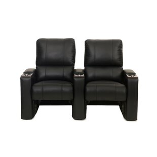 Bonded Leather Manual Rocker Recline Home Theater Row Seating (Row of 2) ByLatitude Run