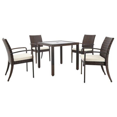 Stillwell 5 Piece Dining Set with Cushions and Umbrella Bay Isle Home