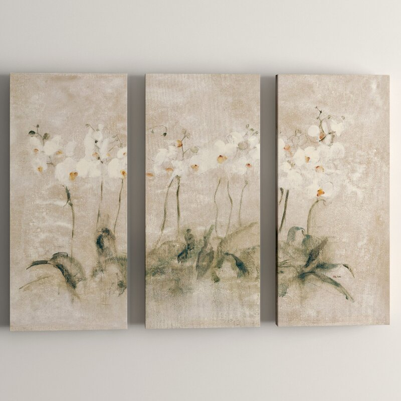 Ophelia Co White Dancing Orchids By Cheri Blum 3 Piece Painting Print On Wrapped Canvas Set Reviews Wayfair