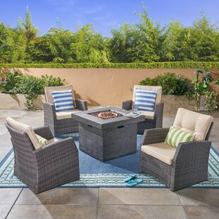 Pascua 5 Piece Rattan Sofa Seating Group with Cushions and Fire Pit by Rosecliff Heights