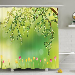 Floral Tulip Tree Shower Curtain Set