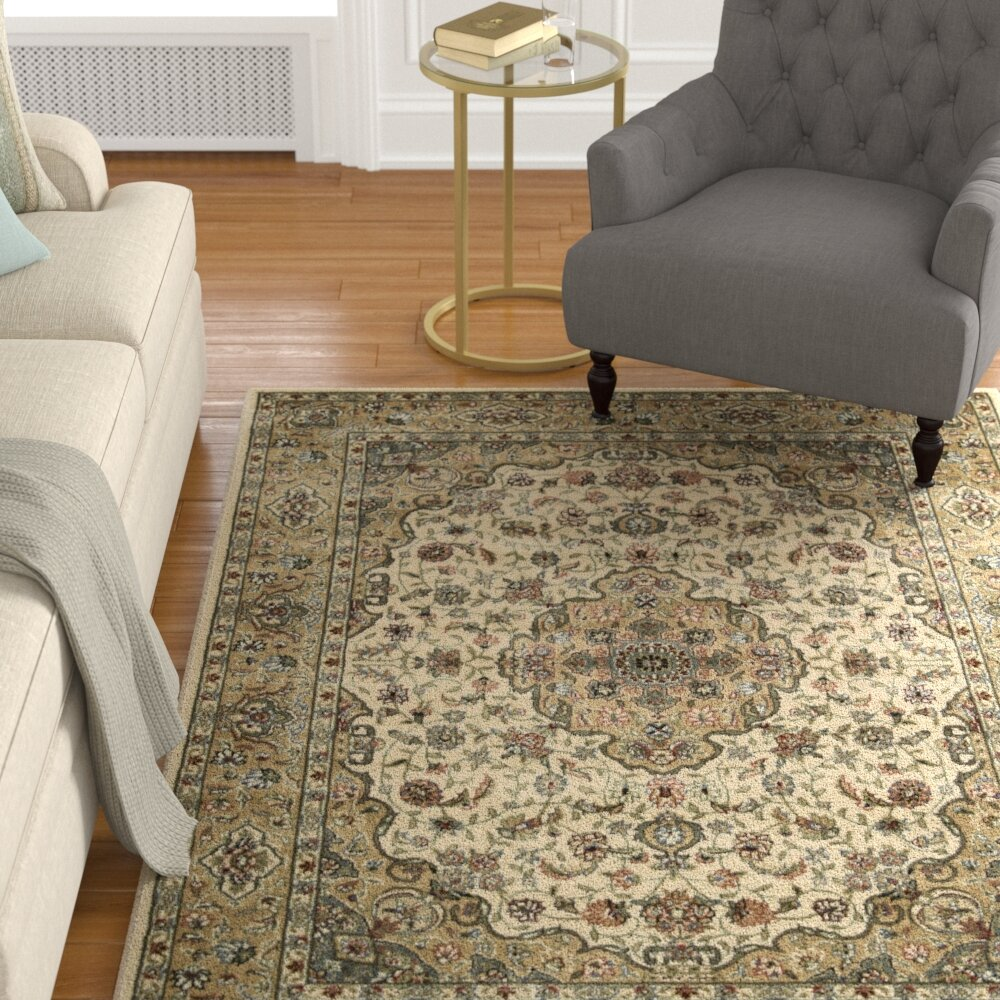 Astoria Grand Bayhills Ivory Gold Area Rug Wayfair