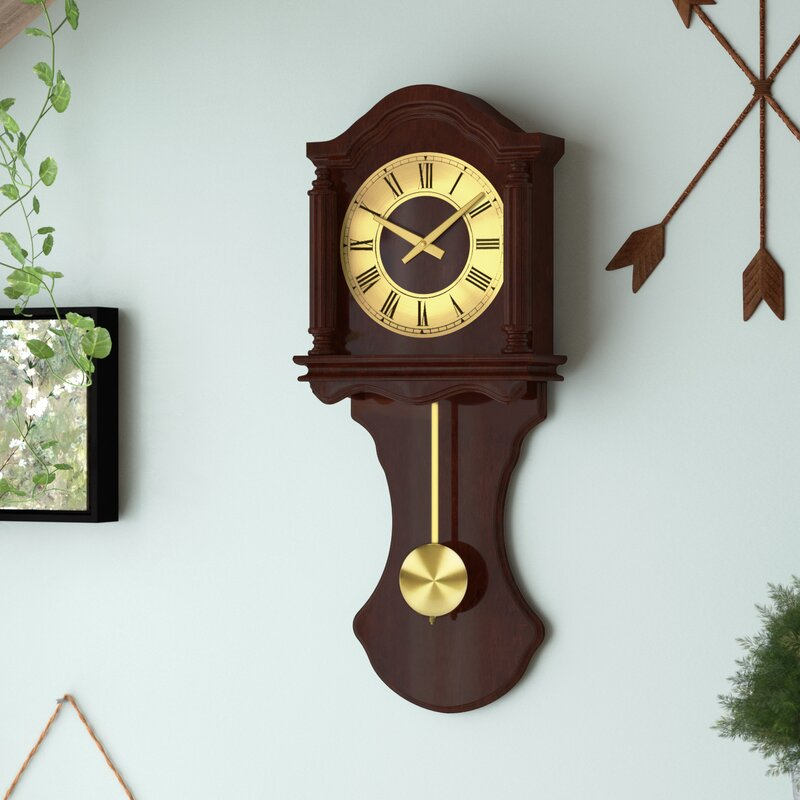 Darby Home Co Amalie Wall Clock With Pendulum And Chime Reviews