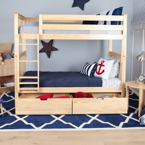 Solid Wood Twin Bunk Bed with Under Be..