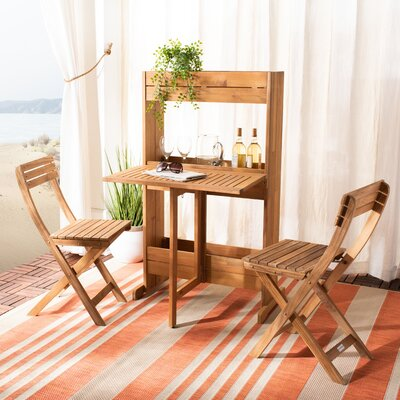 Volk Flower 3 Piece Teak Bistro Set by Highland Dunes Wonderful