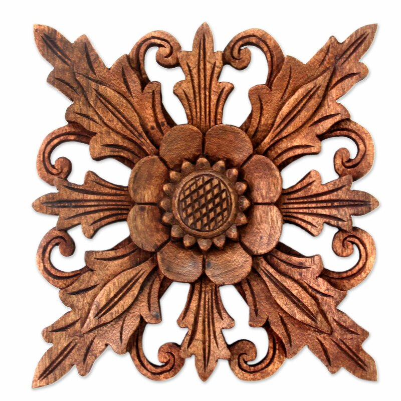 bloomsbury market 3 piece hand carved wood floral relief panels wall