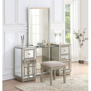 Willa Arlo Interiors Primm Storage Vanity Set with Mirror
