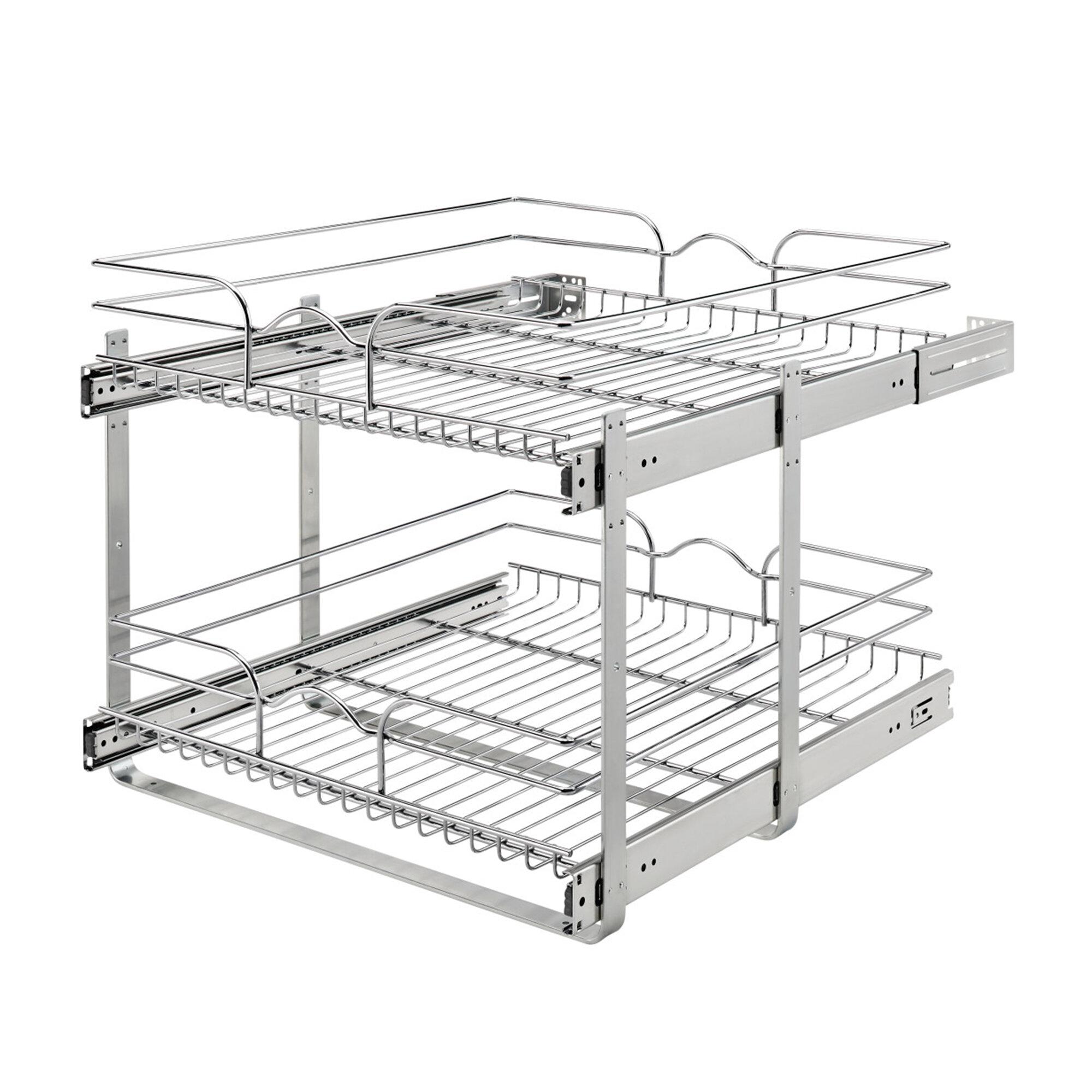 Rev A Shelf Two Tier Kitchen Storage Basket Pull Out Pantry Reviews Wayfair