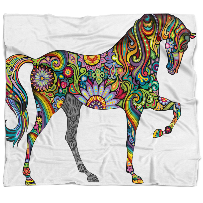 East Urban Home Animal Cheerful Horse Blanket Wayfair