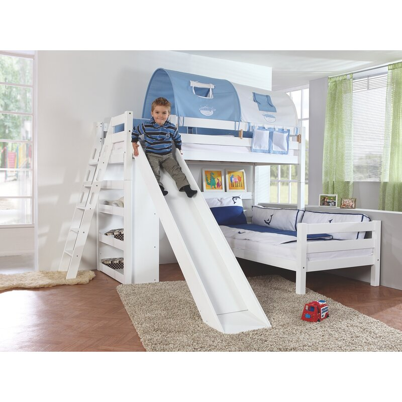 Fairley European Single L-Shaped Bed with Bookcase, Tunnel and Slide