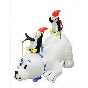 Inflatable Polar Bear And Penguins Christmas Yard Lighting Display