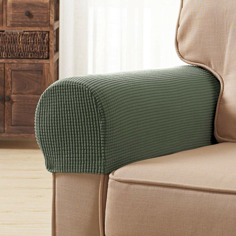Pack of 2 Polyester Spandex Armrest Slip Covers Armchair Sofa Arms Protector