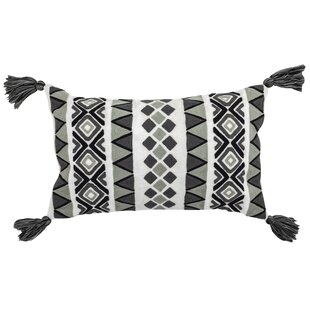 Shinault Embroidered Outdoor Lumbar Pillow