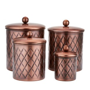 Embossed Diamond 4 Piece Kitchen Canister Set