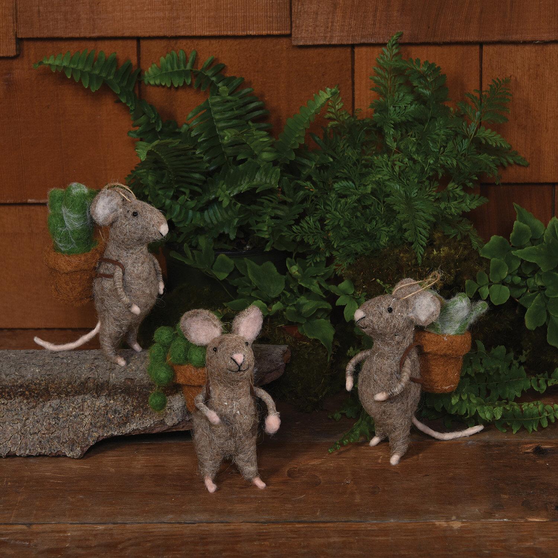 3 Piece Mice With Succulent Hanging Figurine Ornament Set Joss Main