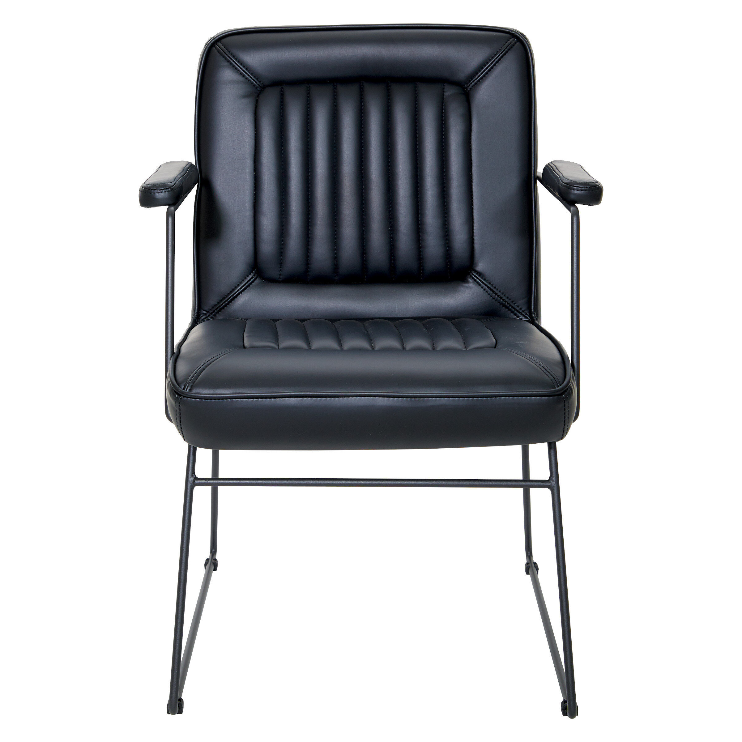Industrial Style Metal Frame Faux Leather Reception Sofa Chairs Padded Armchair