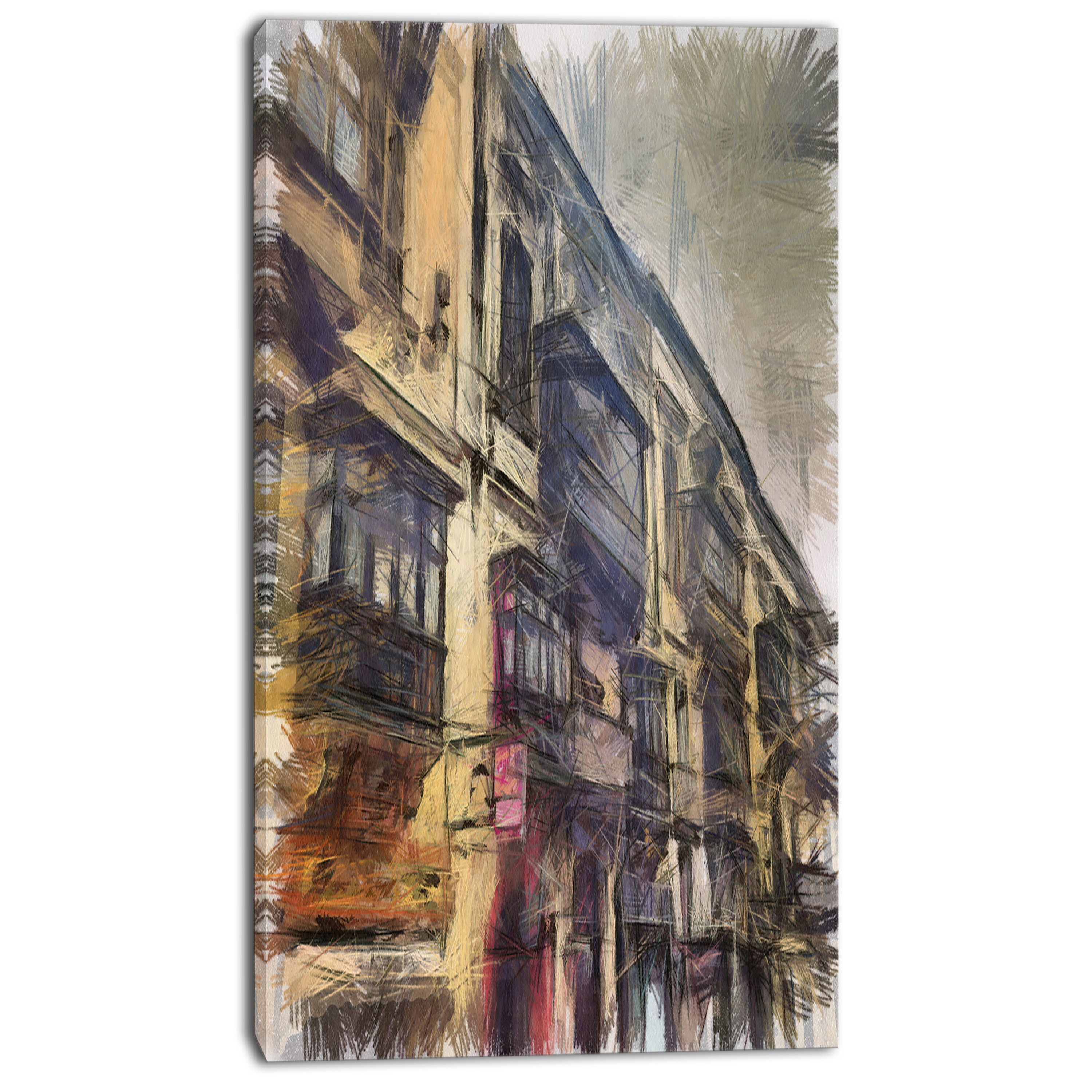 Designart Old City Street Watercolor Painting Painting Print On Wrapped Canvas Wayfair