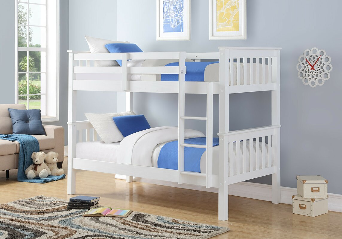 Wooden White Bunk Bed Double Beds Space Saver Kids Children Bedroom