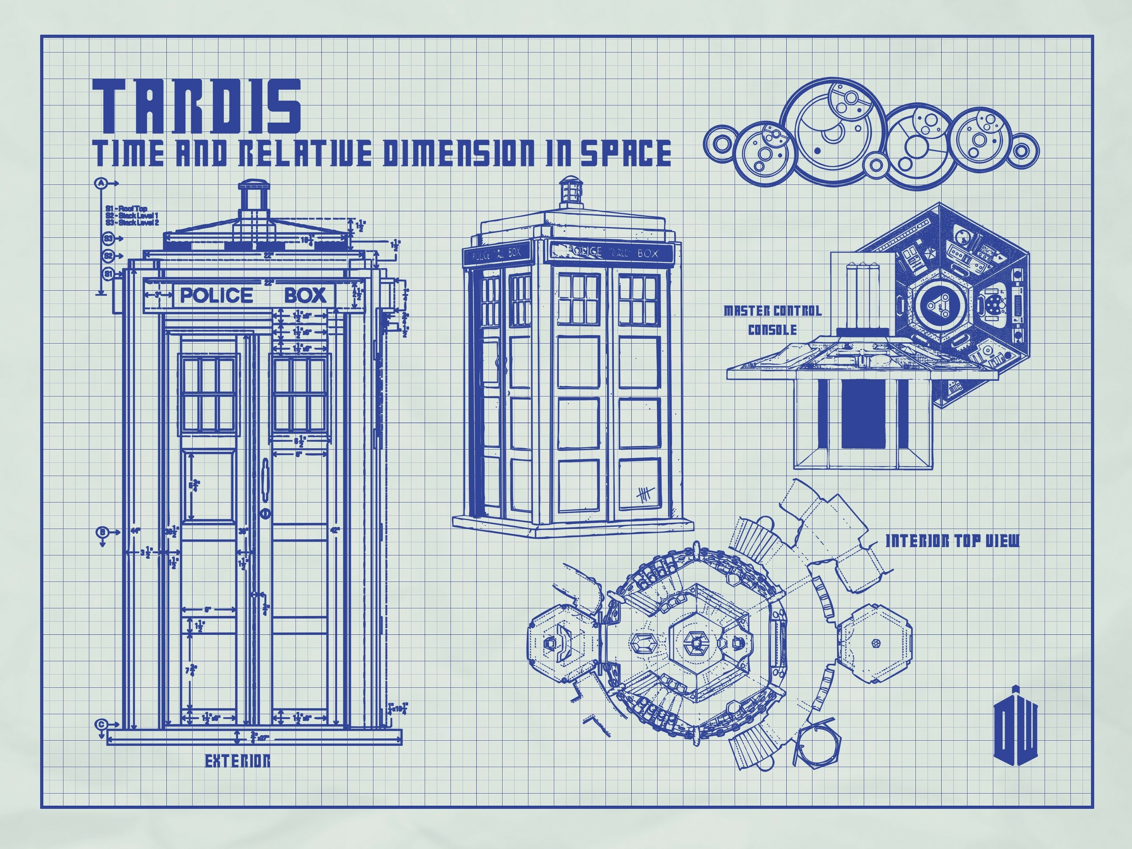 Inked and screened doctor who tardis blueprint graphic art wayfair malvernweather Images