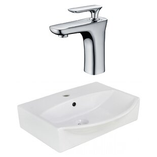 American Imaginations Ceramic U-Shaped Wall Mount Bathroom Sink with Faucet and Overflow