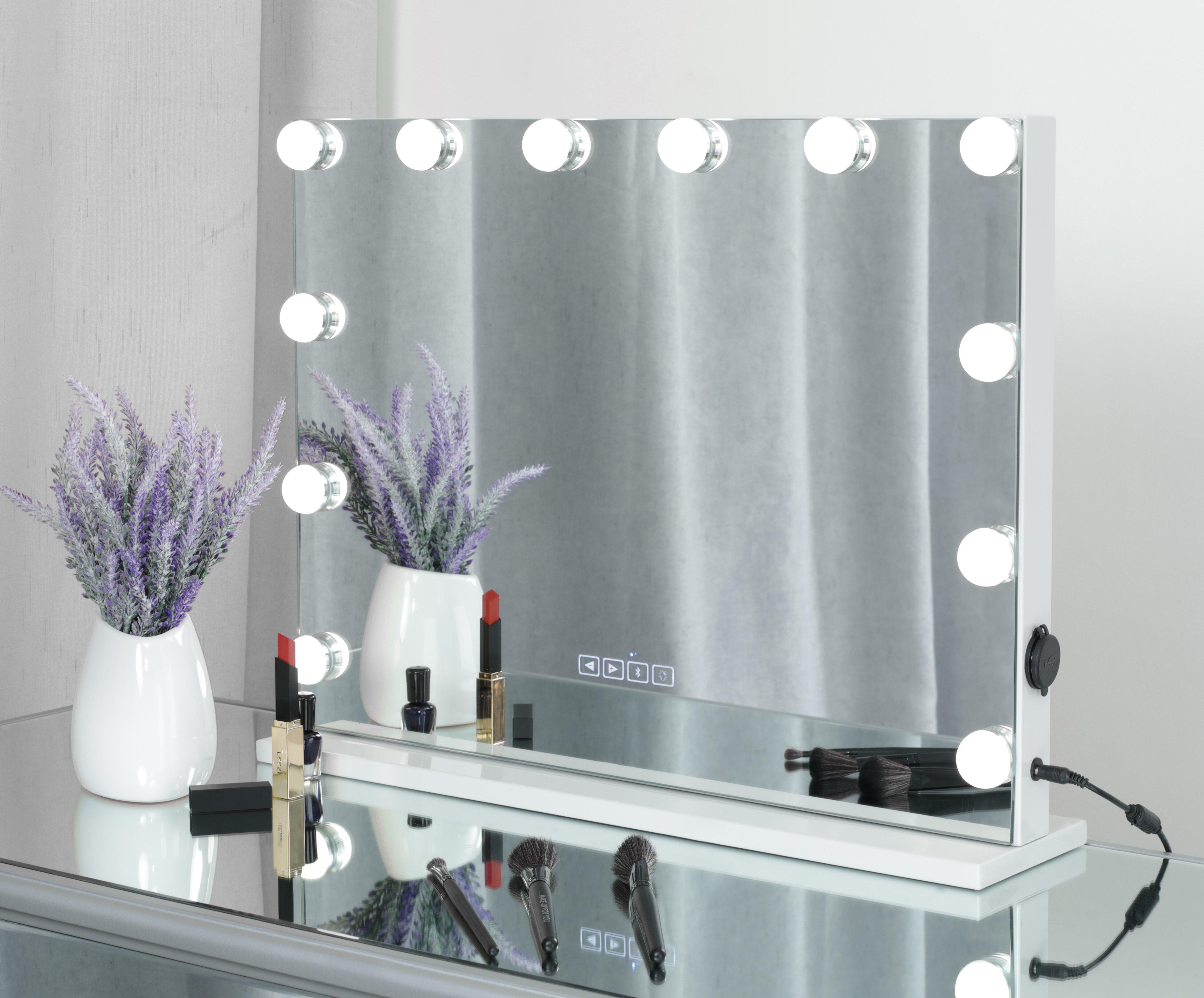 Orren Ellis Gelsey Led Bluetooth Large Lighted Vanity Mirror Wayfair