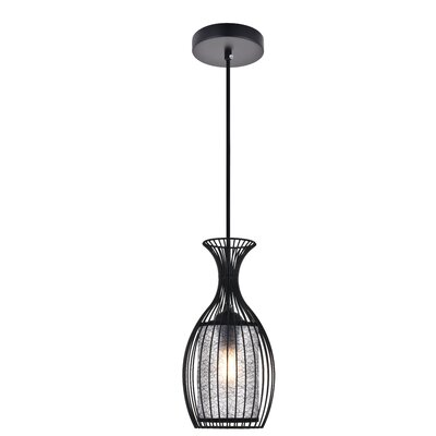 1 Light Calandre 1 Light Black Pendant Wrought Studio Finish Black