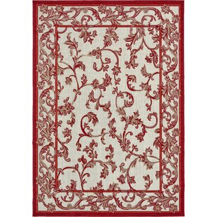 Aukerman Beige/Red Indoor/Outdoor Area Rug