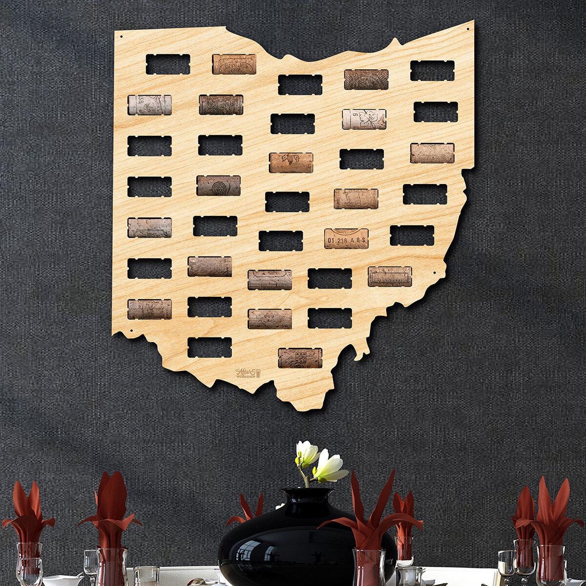 Millwood Pines Ohio Wine Cork Map Wall Décor | Wayfair