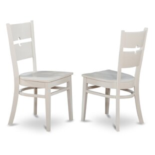 Langwater Ladder Back Solid Wood Dining Chair (Set of 2) Beachcrest Home