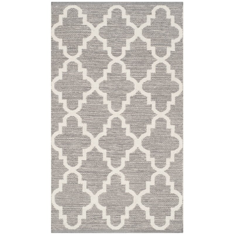 Alcott Hill Valley Hand-Woven Cotton Gray/White Area Rug, Size: Rectangle 6 x 9