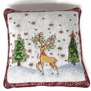 Park Winter Forest Reindeer Woven Tapestry Pillow Cover