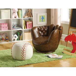 Read Reviews Baseball Glove Kids Faux Leather Chair and Ottoman ByCrown Mark