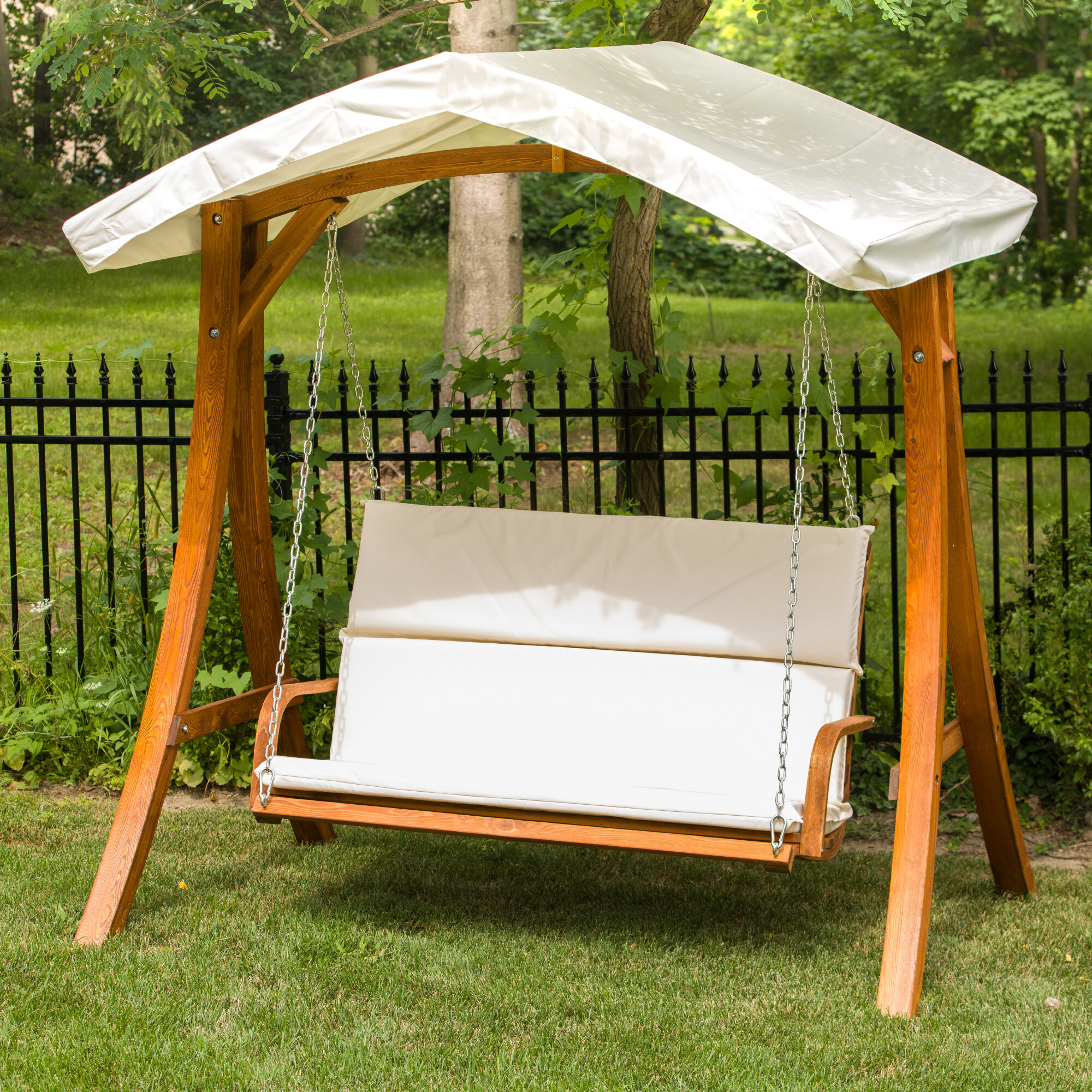 Leisure Season Porch Swing With Canopy
