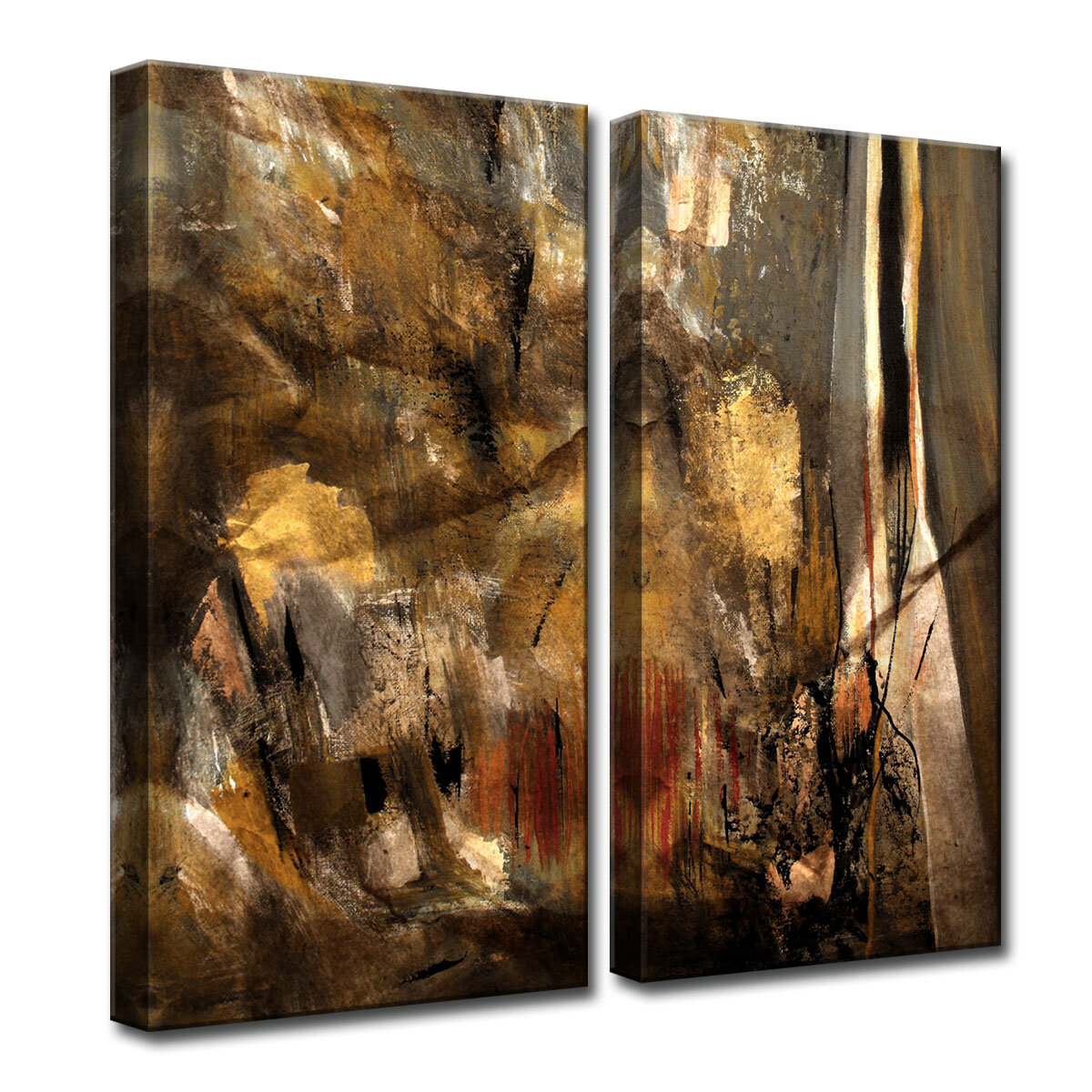 Wrought Studio Earth Tone Abstract I By Tristan Scott 2 Piece Wrapped Canvas Print Set Reviews Wayfair