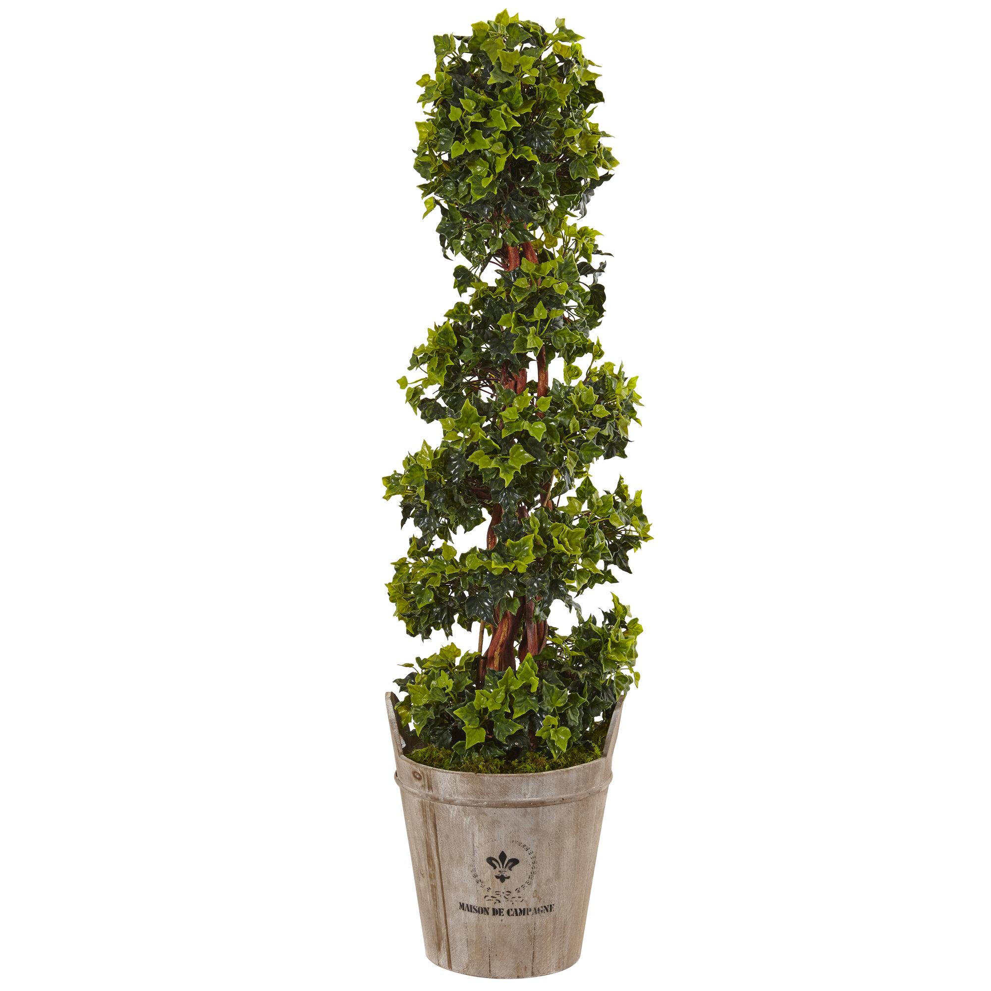 Fleur De Lis Living Artificial English Floor Ivy Topiary in Planter ...