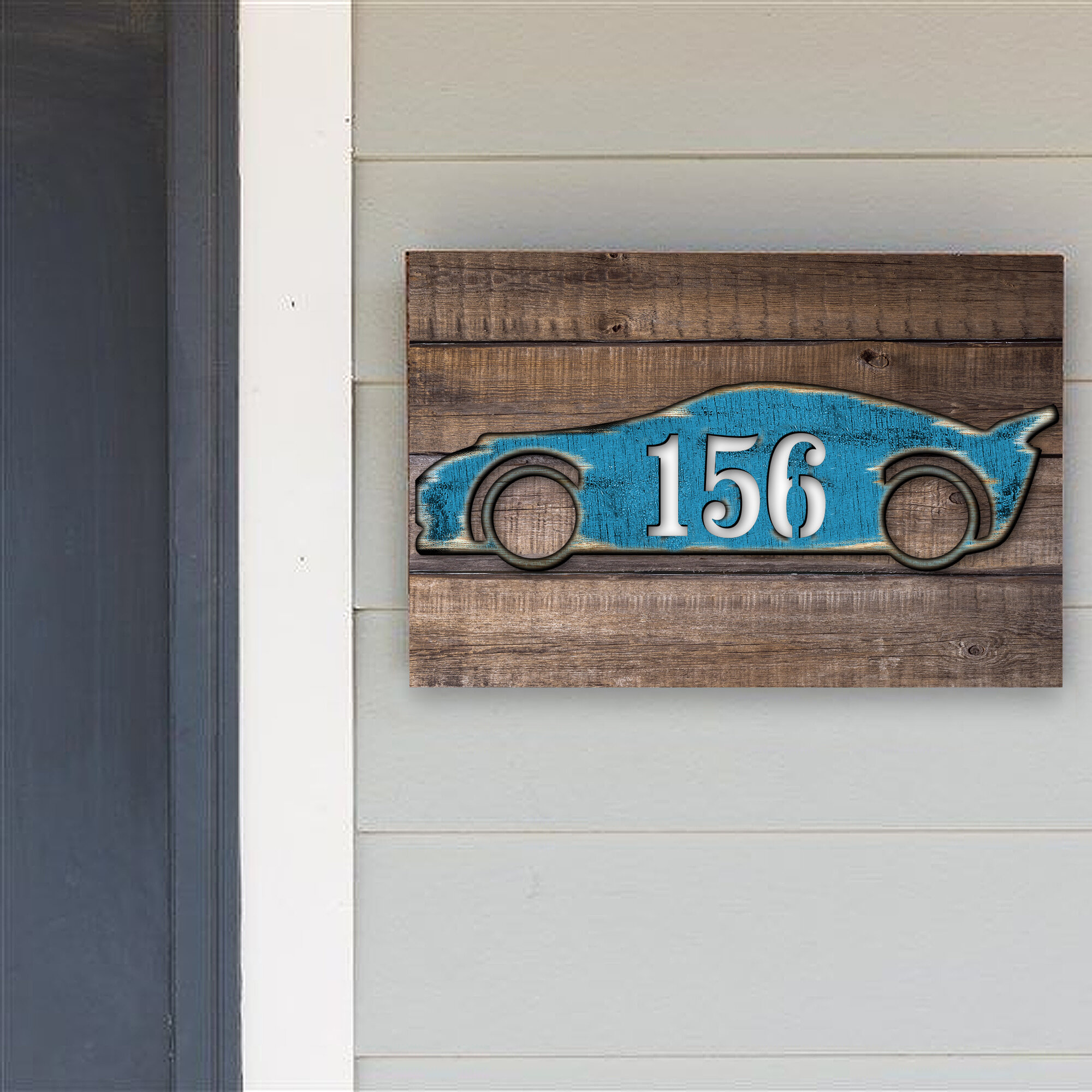 Designocracy Sports Car House Door Mailbox Address Number 1 Line Wall Mount Wayfair
