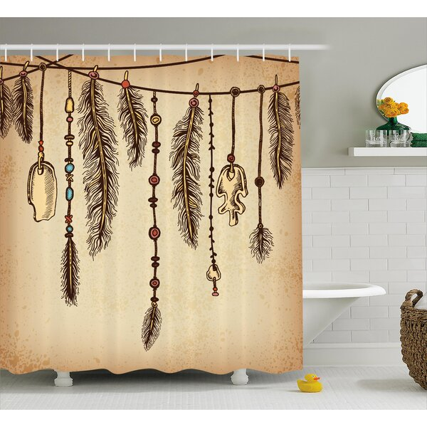 Bungalow Rose Celine Tribal Bohemian Indian Hair Accessories Bird Feathers Beads On String Sketch Digital Print Shower Curtain