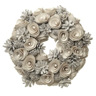 21cm Pine Cone And Flower Christmas Wreath By The Seasonal Aisle