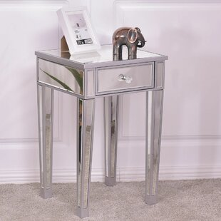 Manrique Mirrored Accent Table Nightstand End Table Bedside Storage Cabinet Drawer