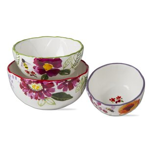 Fresh Flowers 3 Piece Stoneware Mixing Bowl Set