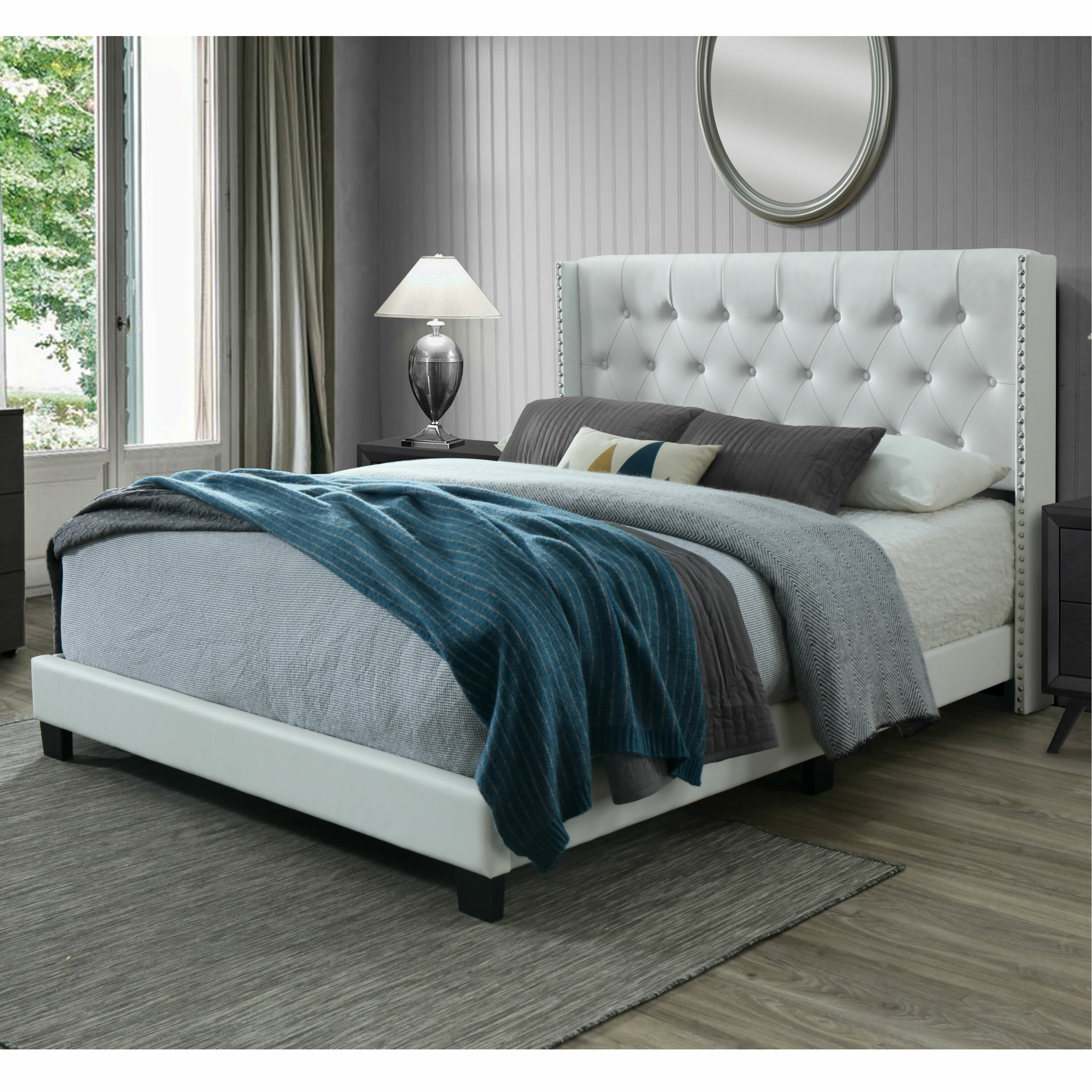 Willa Arlo Interiors Nadine Tuftedsolid Wood And Upholstered Low Profile Standard Bed Reviews Wayfair