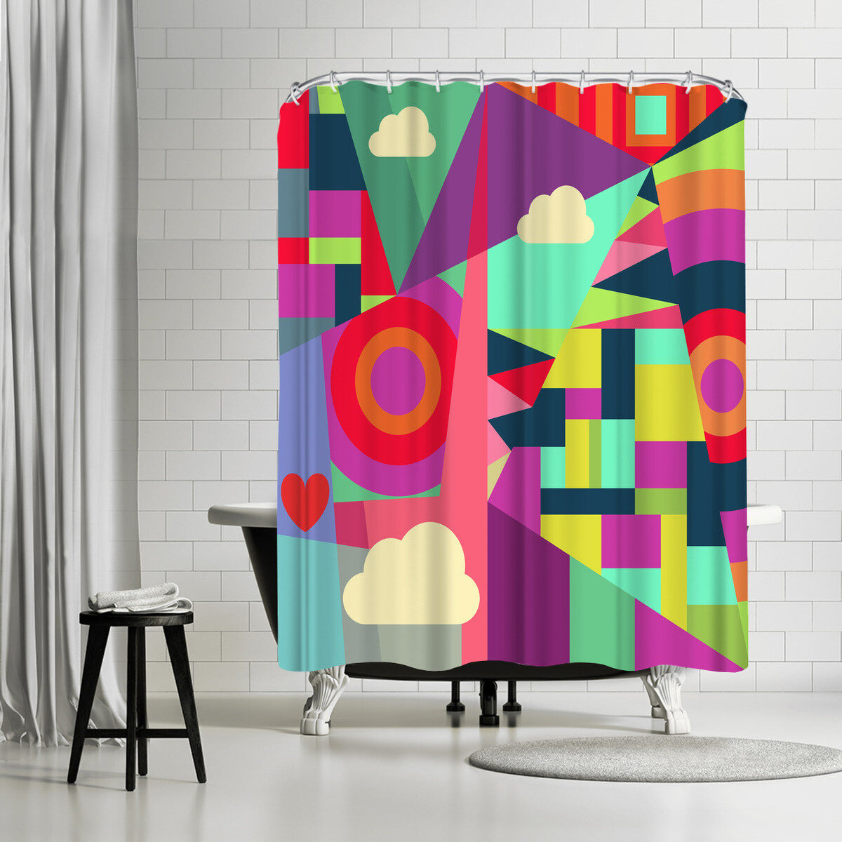 East Urban Home Susana Paz Geometric 7 Single Shower Curtain Wayfair