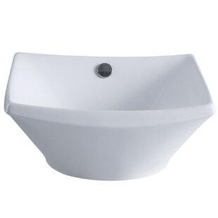 Kingston Brass Courtyard Ceramic Square Vessel Bathroom Sink with Overflow