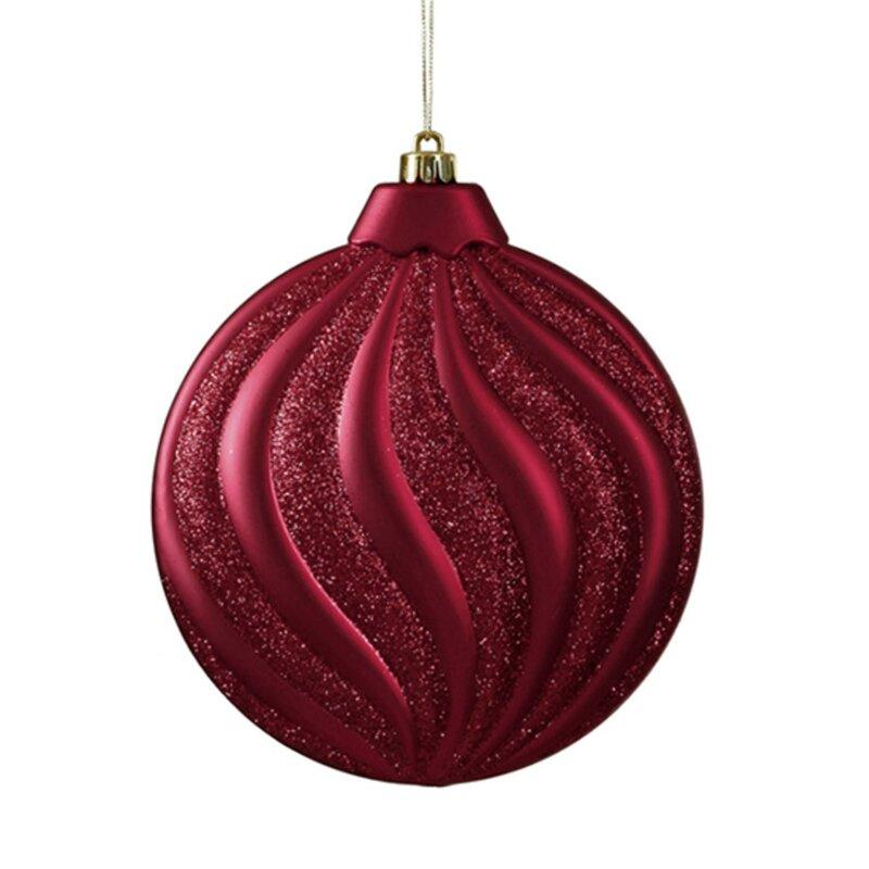 Glitter Swirl Shatterproof Christmas Disc Ornament