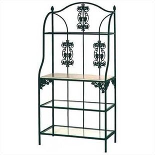 Grace Collection Vineyard Wrought Iron Baker's Rack