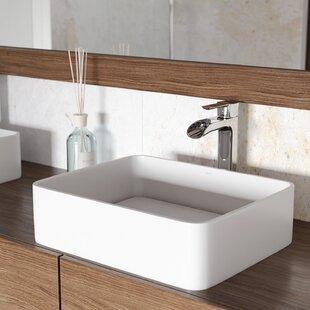 Best Reviews VIGO Matte Stone Rectangular Vessel Bathroom Sink with Faucet By VIGO