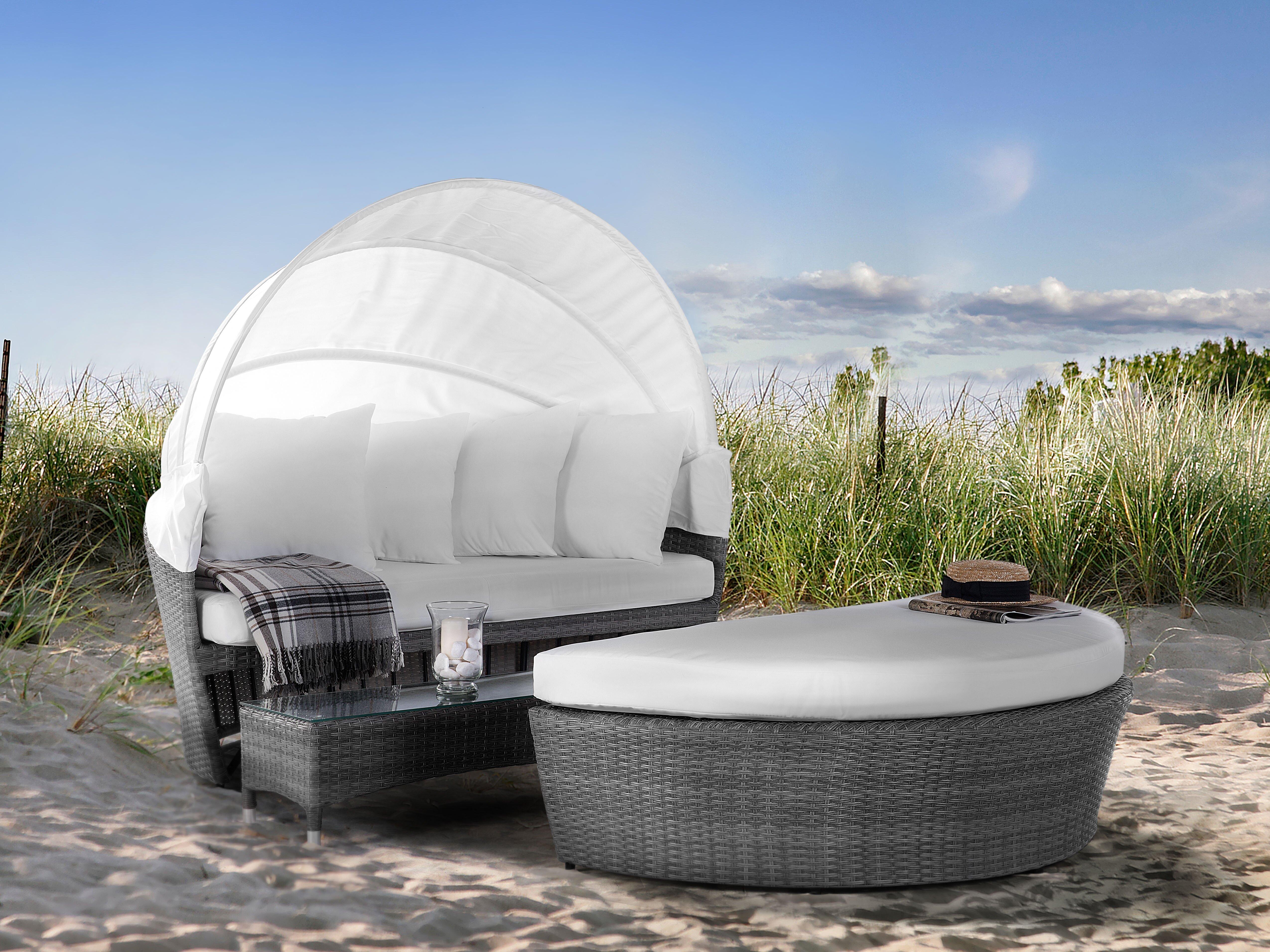 Dakota Fields 2 Piece Rattan Garden Daybed Set With Cushions Reviews Wayfair Co Uk