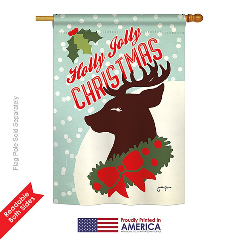 Breeze Decor Holly Jolly Christmas Winter Vertical American 2-Sided ...