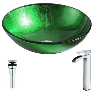 ANZZI Melody Glass Circular Vessel Bathroom Sink with Faucet